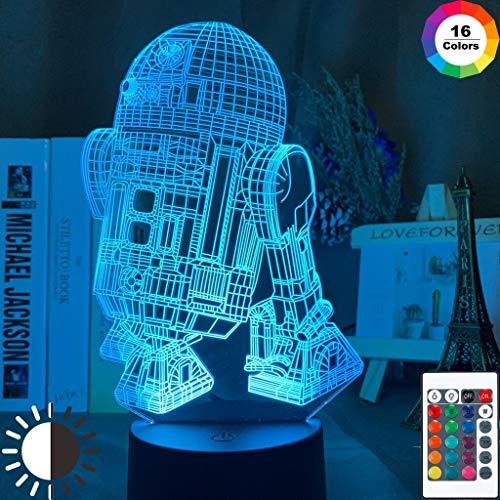Zhuhuimin 3D LED night light R2 D2 children's bedroom decoration robot night light robot R2D2 table lamp 3D illusion