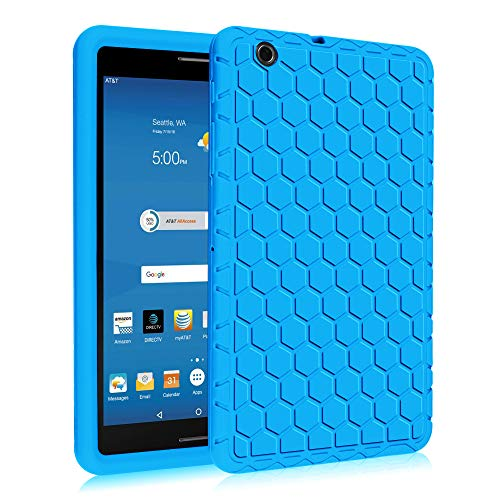 Fintie Silicone Case for AT&T Trek 2 HD (Model 6461A) - [Honey Comb Series] Light Weight Shock Proof Protective Cover [Anti Slip] [Kids Friendly] for 8-inch AT&T Trek 2 HD (2016) (Blue)