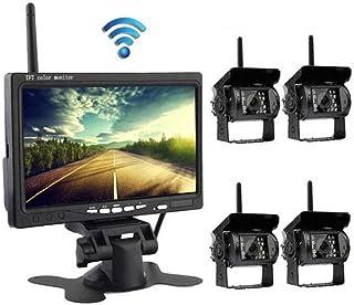 L-CAM Equipo de cámara y Monitor de Copia de Seguridad inalámbrica para Camiones señal Anti-interferencia Digital de 7-Pulgadas con Pantalla Dividida 2.4G y señal Digital inalámbrica
