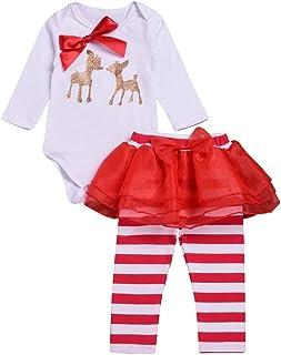 Vectry Navidad Ropa para Disfraz Conjunto Reci/én Nacido Beb/é Ni/ñas Conjuntos De Pantalones De Malla De Rayas De Mameluco con Lazo De Ciervo Navide/ño Outfits Trajes Oto/ño Invierno Trajes