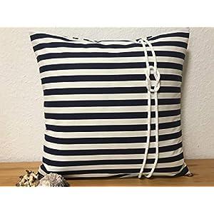 1 Maritime Kissenhülle, Kissenbezug, Landhausstil Kissen * Seemannsknoten * blau/weiß gestreift