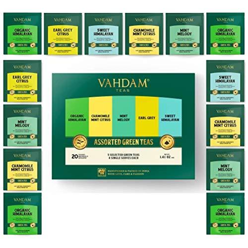 VAHDAM, surtido de té verde   5 tés, 4 bolsitas de té de pirámide   Himalayan, Mint Melody, Chamomile Mint Citrus, Earl Gray & Sweet Himalayan Green Tea   Brew caliente o helado   20 bolsitas de té