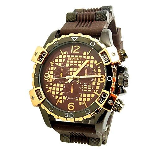 Reloj hombre marrón cobre oro rosa Militar deporte XXL silicona Hustle Spider