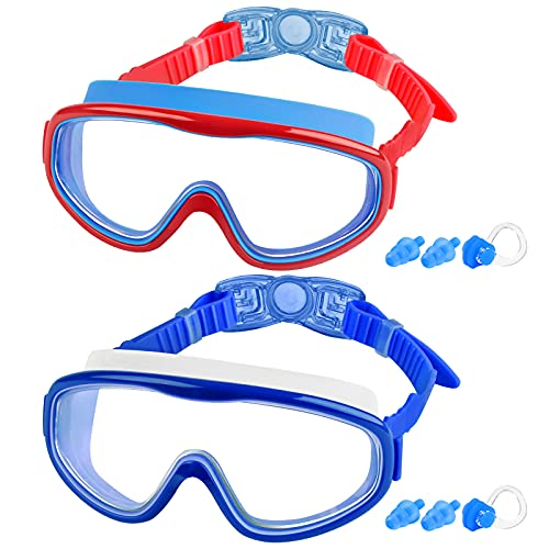 COOLOO 2-PACK Kids Swimming Goggles, Kids Swim Goggles Junior Children Girls Boys Early Teens Age 3-15, with Anti-Fog, Waterproof, Protection Lenses, Crystal Clear Wide Vision