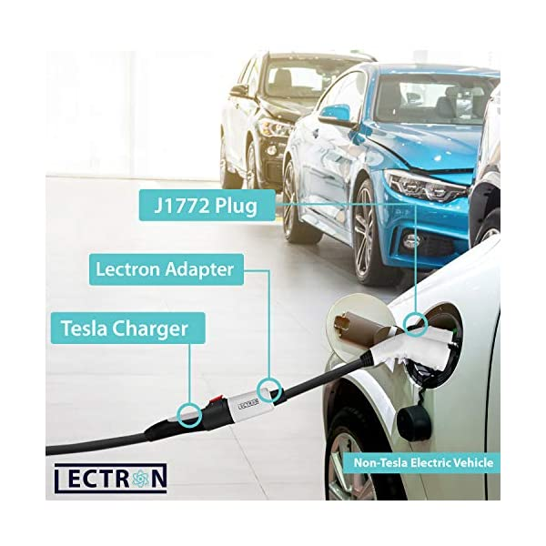 lectron – tesla to j1772 adapter, max 40a & 250v – compatible with tesla high powered connector, destination charger…
