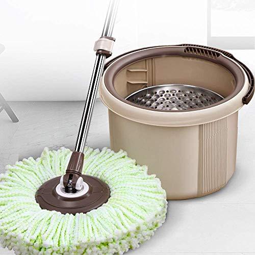 STRAW Trapeador, Sistema de Limpieza de Piso de balde con manija Ajustable extendida y Almohadillas de trapeador de Microfibra