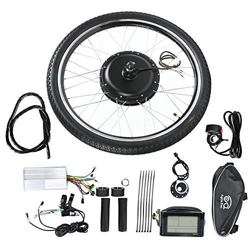 Jacksking Kit de Motor Ebike, Bicicleta eléctrica 36V 500W Kit de conversión de Motor de Cubo Rueda 26in con medidor