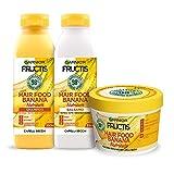 Garnier Shampoo + Balsamo + Maschera Fructis Hair Food, Kit Hair Food con Shampoo, Balsamo e Maschera alla Banana per Capelli Secchi, 98% di Ingredienti di Origine Naturale, Confezione da 3