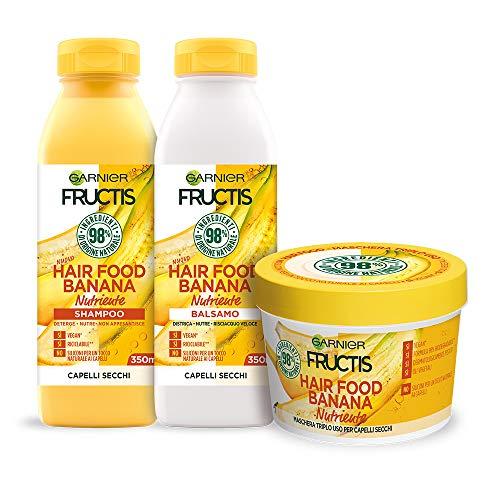 Garnier Shampoo + Balsamo + Maschera Fructis Hair Food, Kit Hair Food con Shampoo, Balsamo e Maschera alla Banana per Capelli Secchi, 98% di Ingredien