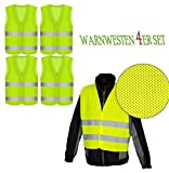 Warnwesten 4er Set GELB PN - EN 471 zertifiziert mit Tasche und Reflektorstreifen und Klettverschluss