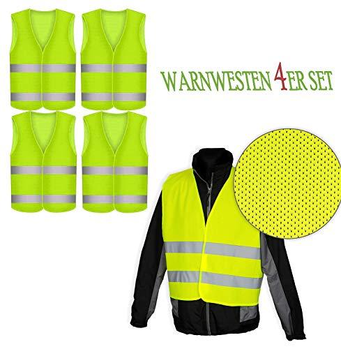 Robex Warnwesten 4er Set GELB PN - EN 471 Zertifiziert Reflektorstreifen und Klettverschluss