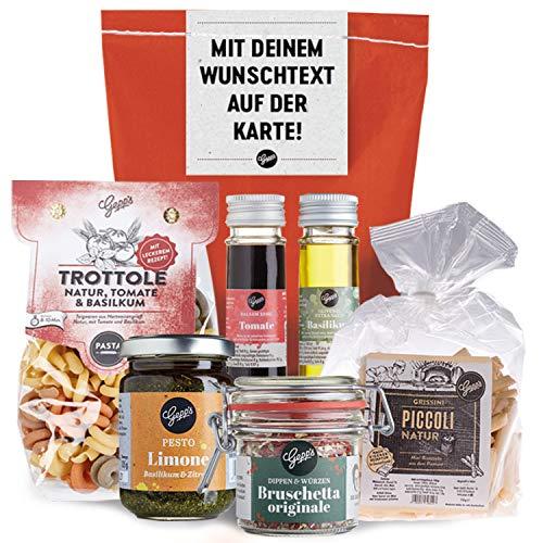 Gepp's Feinkost Wundertüte - personalisierte Grußkarte I Persönliche Geschenkidee mit Delikatessen wie in Italien hergestellte Pasta, Pesto Limone, Bruschetta Dip I Geschenk personalisierbar (A0047)