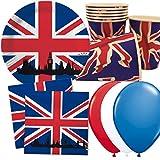 DH-Konzeppt/Carpeta 40-TLG. Set per feste con bandiera inglese e Union Jack, con piatti di carta, tovaglioli, bicchieri di carta e decorazioni, piatto, bicchieri, palloncini da tavola