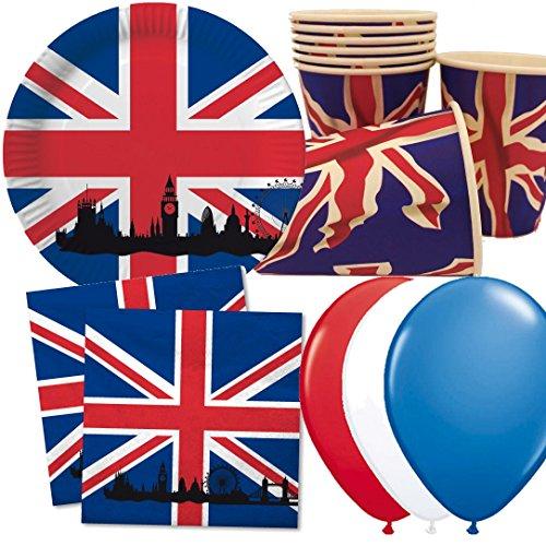 40 pièces assiettes en carton + Serviettes + gobelets en carton de la Grande-Bretagne & Union Jack//Gobelets Assiettes jetables Dîner Carton Harnais Fête Décoration UK Go Angleterre London Big Ben