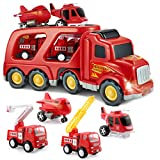 SLENPET Fire Truck Toys for 2 3 4 5 Years Old Boys Kids Toddlers, Vehicles Toy Set with Light and Sound, Large Transport Cargo Truck, Small Helicopter, Airplane, Emergency Rescue Cars, 5 in 1 Playset