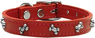 Mirage Pet Products Bone Leather Red Dog Collar, 16""