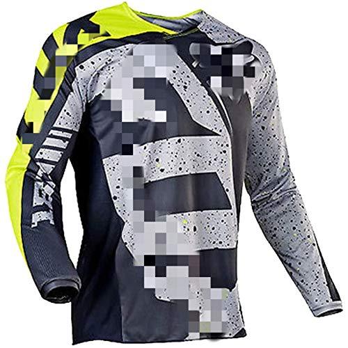 Maillot de Manga Larga para Hombre Traje de Descenso al Aire Libre, Ciclismo Tops MTB Transpirable de Secado rápido Motocross Jersey, Camisa de Bicicleta de montaña Ropa de Carreras (Gris,3XL)