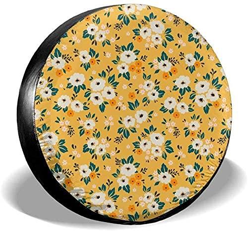 Lewiuzr Cubierta de neumático de Rueda de Repuesto de poliéster portátil térmica pequeña Flor Blanca Ditsy Ajuste Universal