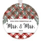 DKISEE Verheiratetes Lesbisches Paar, unser 20. Weihnachten zusammen 2019, 7,6 cm, Kreis aus Keramik, Andenken, dekorativer Weihnachtsbaum, hängende Ornamente