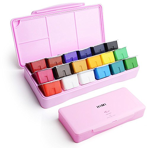MIYA Gouache Paint Set, 18 Colors x 30ml Unique Jelly Cup Design, Portable Case with Palette for Artists, Students, Gouache Watercolor Painting (Pink)