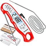 Meat Thermometer for Cooking, Saferell 2-in-1 Digital Instant Read Food Thermometer with Foldable...