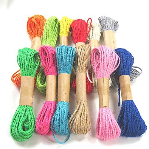 10m Longitud De La Cuerda De Yute Natural, Cordel De Color, 12 Tipos De Cuerda De Envoltura De Regalo A Juego De Color, Haciendo Tarjetas De Felicitación, Artesanías De Bricolaje Y Aplicaciones De Jar