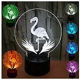 3D Illusion Lampe LED Leuchte Nachtlicht Stimmungslicht Nachttischlampe Tischlampe, Morbuy Flamingo 7 Farben ändern Touch Switch Fernbedienung Hauptdekor Geschenke für Kinder