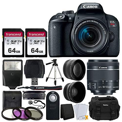 Canon EOS Rebel T7i 24.2MP Digital SLR Camera + EF-S 18-55mm f/4-5.6 is STM Lens + 2X 64GB Memory Card + Wide Angle & Telephoto Lens + RC-6 Wireless Remote + DC59 Gadget Bag + Tripod + Valued Bundle