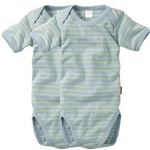 WELLYOU, 2er Set Kinder Baby-Body Kurzarm-Body, hell-blau neon-gelb gestreift, Geringelt, für Jungen und Mädchen, Feinripp 100% Baumwolle, Größe 104-110