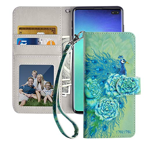 MagicSky Samsung Galaxy S10 Plus Wallet Case, Premium PU Leather Flip Folio Phone Case Cover with Wrist Strap, Card Holder, Kickstand for Samsung Galaxy S10+ Plus (2019),Green Peacock