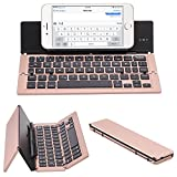 NOVT Universal Aluminum Folding Bluetooth Keyboard Compatible with...