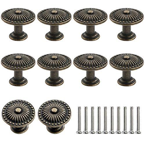Gativs 10 Stück Schublade Handle Schrank Handle Pull Griff Knopf Kabinett Knauf Schrankgriff Schubladengriffe Antik Bronze Möbelknopf Möbelknauf für Kommode Küchenschränke Kleiderschrank