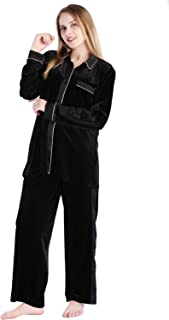 Women's Soft Velour Pajamas Sets 2-Piece Long Sleeve Button Down Shirt and Loung Pants Sleepwear