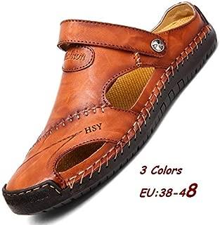 Men Outdoor Summer Sandals Genuine Leather Sandals for Men Breathable Beach Slippers Size EU 38-48(Black,EU 43)