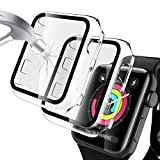 LK [2 Pack] Case for Apple Watch 42mm Series 2/3 Built-in Tempered Glass Screen Protector, Hard PC Protector Cover for iWatch 42mm (Clear)