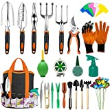 AOKIWO 83 Pcs Garden Tools Set Succulent Tools Set, Heavy Duty Aluminum Manual Garden Kit Outdoor Gardening Gifts Tools for Men Women (Orange)