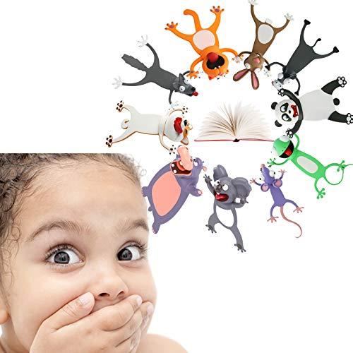 10 Stück Lesezeichen, 3D Stereo Cartoon schön Tier Lesezeichen Set Kinder weihnachtsgeschenke
