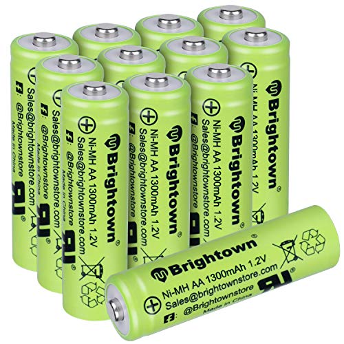 NiMH Rechargeable AA Battery Pack of 12, High Capacity 1300mAh 1.2v Pre Charged Double A Battery for Solar Lights, Battery String Lights, TV Remotes, Wireless Mouses, Radio, Flashlight