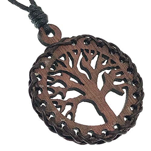 Tree of life Yggdrasil Norse Paganism Celt Celtic Pagan Tribal Jewelry Wood Wooden Light Weight Handmade Men's Women's Pendant Necklace Charm Amulet for men women with Black adjustable Cord