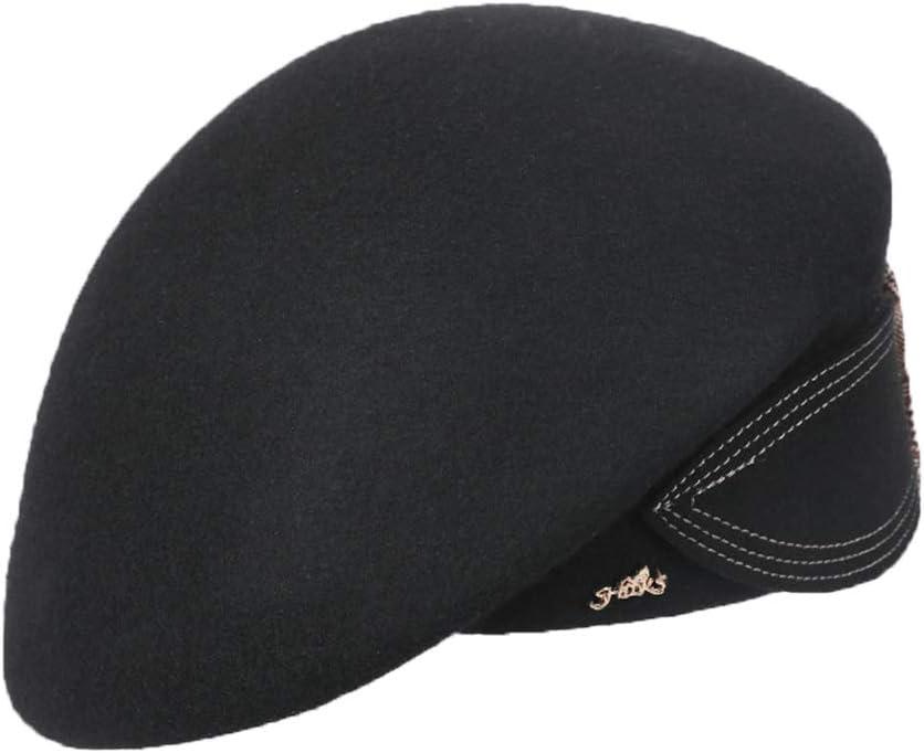 Hat Women's Hat Classic Beret Warm Soft Plaid Big Bow Painter Hat Accessories (Color : Black)