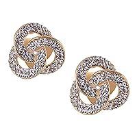 誇張されたビンテージメタルイヤリングダイヤモンドパールスタッドイヤリング-02Q19