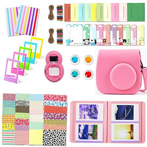 Leebotree Paquete de Accesorios para cámara Fujifilm Instax Mini 9 Incluye: Caso/Album/Lente para Autoretrato/Filtros/Marcos para fotos/Marcos de Películas/Bordes/Pegatinas (Rosa Flamingo)