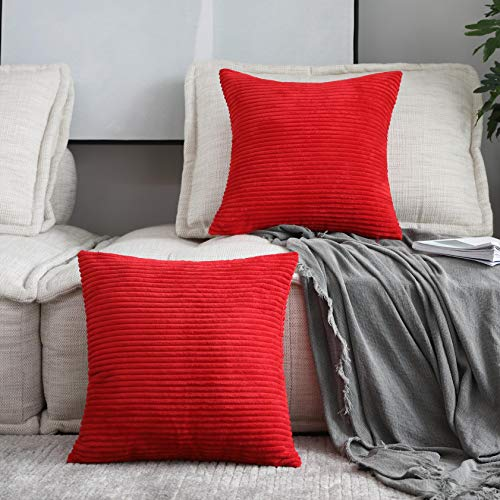 Home Brilliant Decorations Set of 2 Plush Velvet Corduroy Throw Euro Pillow Sham Cushion Cover for Sofa, 26 x 26 Inch (66 x 66 cm), Bright Red