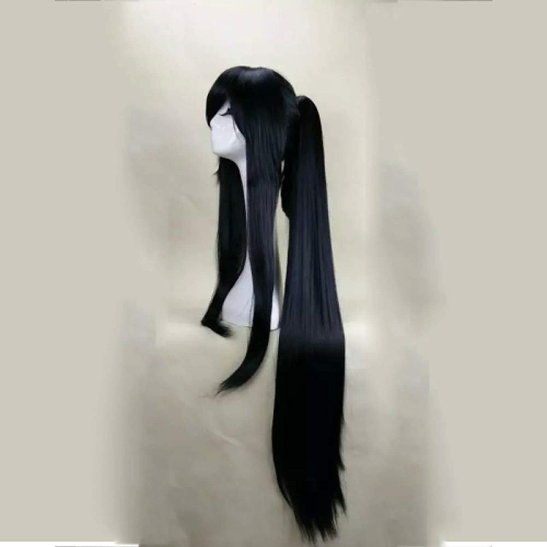 Capless blacke cosplay perücke mit pferdeschwanz 120cm super lange glatte kunsthaarperücken anzug für party halloween