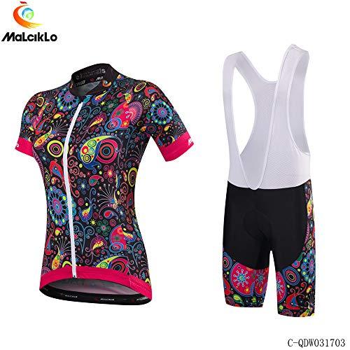 Carolilly Damen-Radtrikot-Set, Rennrad-Body, Kurzarm-Reißverschlussoberteil, Shorts/Bracket-Radhose (Weiß, XXL)