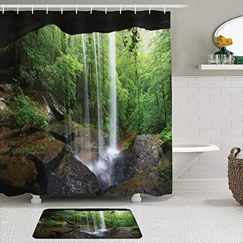 Haoerwu Stoff Duschvorhang und Matten Set,Stiller Wasserfall der natürlichen Höhle im Wald in der Lebensraum-Ökosystem-Landschaft des nördlichen Alabama,Badvorhänge mit 12 Haken,rutschfeste Teppiche