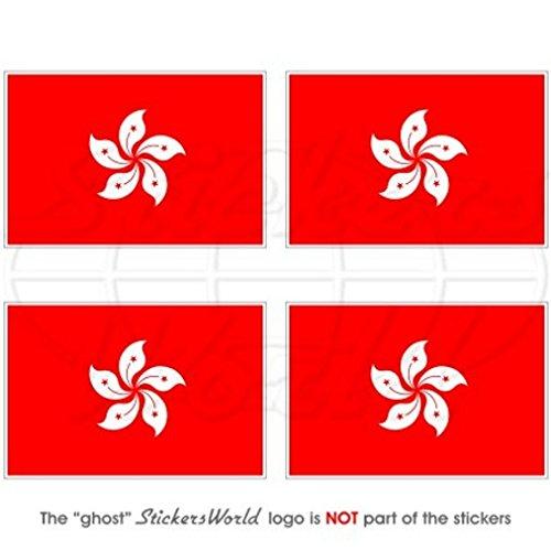 Hong Kong Flagge China Asien 5,1cm (50mm) Vinyl bumper-helmet Sticker, Aufkleber X4