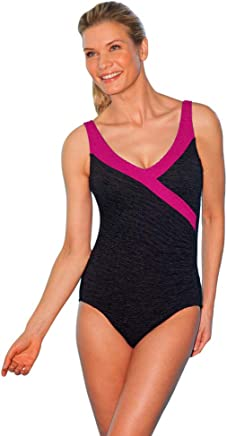 0c46b07706 Krinkle Color Block Mock Surplice One Piece Chlorine Resistant Swimsuit  Berry 12