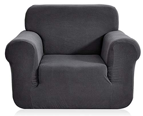 E EBETA Elastisch Sofa Überwürfe Sofabezug, Stretch Sofahusse Sofa Abdeckung Hussen für Sofa, Couch, Sessel 1 Sitzer (Dunkelgrau, 85-115 cm)