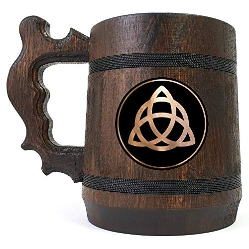 Triquetra Beer Stein, Personalized Celtic Symbol, Gift For Him, Individual Beer Mug, Custom Gift for Man, Groomsmen Gift, Beer Tankard